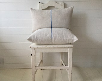 Vintage Hungarian Hand Spun Linen Cushion Pillow Off White with Royal Blue Stripe Complete with Made to Measure Feather Pad FC2005