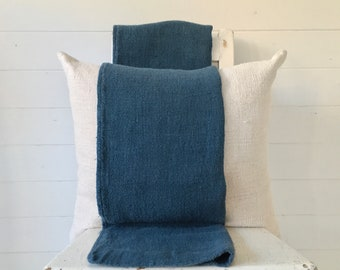 Grey Petrol Blue Dyed Vintage Linen Grain Sack Upholstery Fabric Sewing Projects Bench Seats Bath Mat Pillow Cushions Cover DNS2100