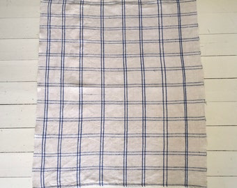 Blue Checked Tea Towel Linen Vintage Fabric Handmade Linen ML Mono NTT1912