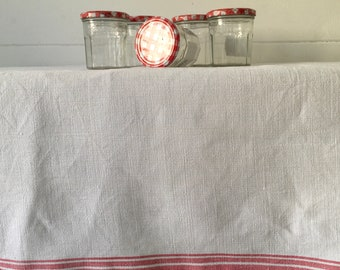 Faded Pinky-Red Stripe Tablecloth Linen for Cafe Tables Small Tables Vintage Fabric Handmade Linen Washed and Ready to Go NCT2112