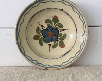 Rustic Terracotta Hungarian Pottery Ceramic Dish - Kitchen Wall Decor Floral, Blue, Green