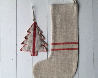 Classic Christmas Stockings Red Stripe Natural Hand Spun Linen and Cotton Herring Bone Weave CS2002