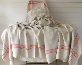 Salmon Pink Border Stripe Cart Cover Linen for Upholstery Sewing Projects Vintage Fabric Handmade Linen CC2006