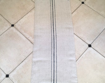 Blue Stripe Natural Vintage Linen Grainsack Fabric EM Mono NS1917