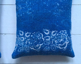 Indigo Linen Lavender Pillows Bags Hungarian Dyed Indigo