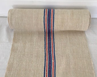 Blue and Red Stripe Twill Natural Sandstone Vintage Linen