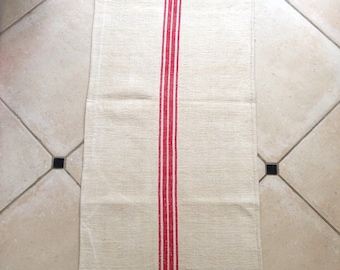 Long Linen Grain sack Red and White Stripe  Natural Sandstone Vintage Fabric Striped Sewing Projects Upholstery Bathroom Mat