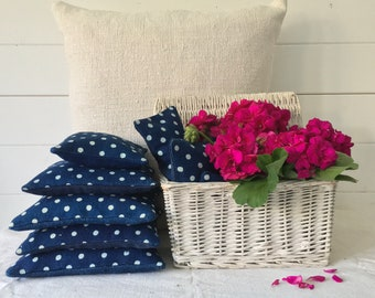 Polka Dot Indigo Linen Lavender Pillows Bags Sachets Hand Made Drawer WardrobeHungarian Natural Lavender LinenHand Dyed Indigo