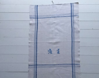 Blue Stripe Tea Towel Linen for with 'AI' Monogram