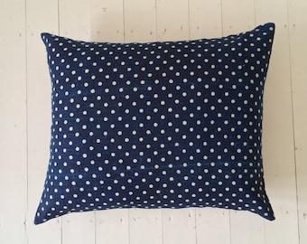 Vintage Hungarian Hand Spun Linen Indigo Dyed Cushion Pillow Rustic Interior Homeware