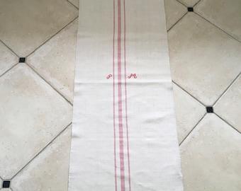 NS1855 Monogrammed 'PM' Pink Striped Natural Limestone Vintage Linen Grainsack