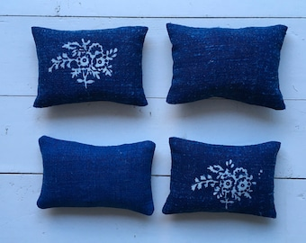 Indigo Linen Lavender Pillows Bags Sachets