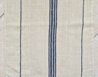 NS1816 Navy Blue Stripe Twill Natural Sandstone Vintage Linen Grainsack Fabric Striped Sewing Projects Upholstery Bath Mat or Laundry Bag