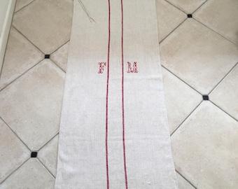 Red Stripe Twill Natural Sandstone Vintage Linen Grainsack Fabric
