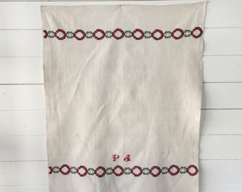Christmas Patterned Tea towel Linen with 'FJ' Monogram