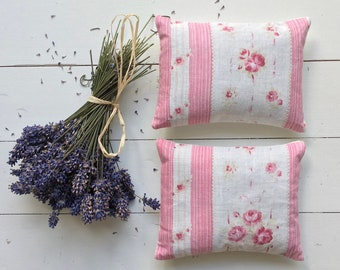 Vintage Pink Rose French Cotton Lavender Pillows