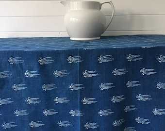 Indigo Dyed Tumbling Flower Design Tablecloth /Sheet Vintage Linen Fabric Handmade Linen Upholstery SewingProjects DTS2003