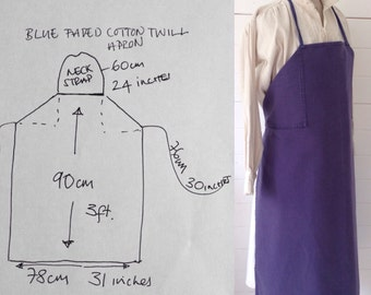 Blue Faded Cotton Twill Utilitarian Vintage Military Workwear Apron