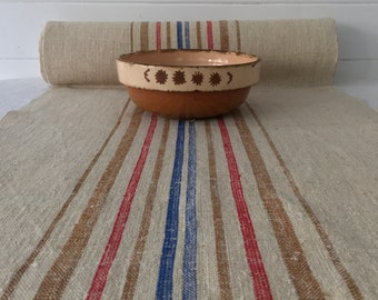 Red Blue and Gold Vintage Sandy Linen per Metre Table Runner Upholstery Bench Seat Cushion Bolsters           Washed and ready to Go NLR2112