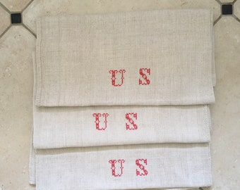 Monogrammed 'US' Natural Limestone Vintage Linen Grainsack Fabric Striped Sewing Projects Upholstery Bath Mat or Laundry Bag