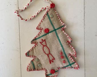 Large Green and Red Check Christmas Tree Decoration