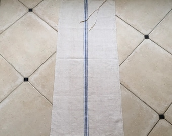 NS1877 Patched Blue Stripe Natural Limestone Vintage Linen Grainsack