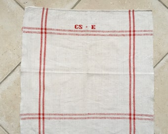 Red Stripe Tea Towel Linen for with 'CSE' Monogram Handmade Linen  NTT2012