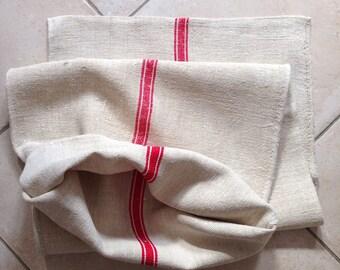Twill Red Stripe Linen Grainsack
