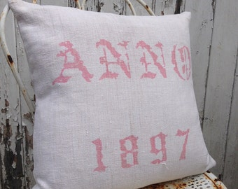 Light Pink and Natural Anno 1897 Vintage Hungarian Hand Spun Linen Cushion Pillow COVER ONLY Hand blocked for Rustic Interior Homeware