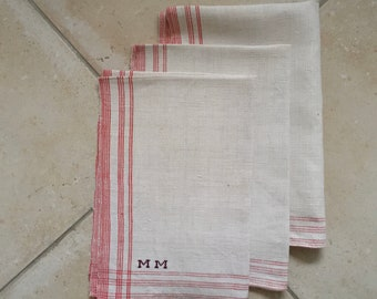 Red Stripe Tea Towel Linen MM Monogram Vintage Fabric Handmade Linen NTT2003