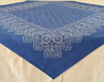BDN1802  Blue Dyed Fine Cotton Tablecloth with a Lace Floral Design