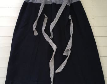Dark Indigo Blue Dutch Linen Apron/ Wrap-around Skirt/ Fisherman Trousers