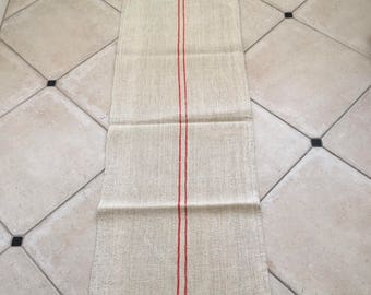 NS1342 Orange Cadmium Stripe Twill Natural Sandstone Vintage Linen Grainsack