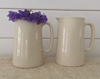 Classic Pottery - Large Glazed Plain Ceramic Jug- Cream Milk Water Vase