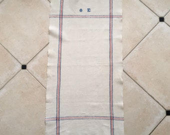 Blue and Red Stripe Border Linen Tea Towel with OE Monogram Vintage Fabric Handmade Linen With Hook NTT2008