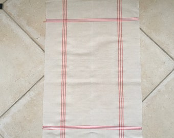 Red Stripe Tea Towel Linen Vintage Fabric Handmade Linen NTT 2001
