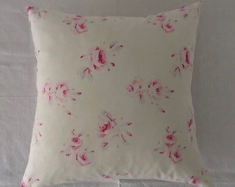 Vintage Hungarian Hand Spun Linen and Cotton Printed Rose Design Cushion Pillow COVER ONLY