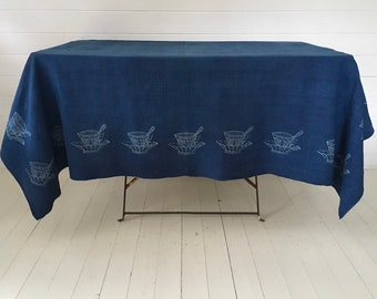 Large Indigo Blue Dyed Natural Teacup Design Hungarian Vintage Tablecloth/Sheet