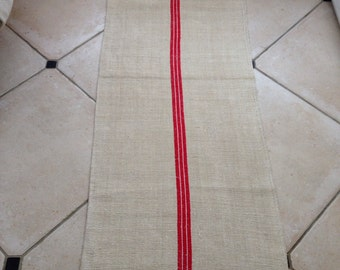 Etsy 15 Red White Stripe Linen Grainsack Natural Sandstone Vintage Fabric Striped Sewing Projects Upholstery Bathroom Mat