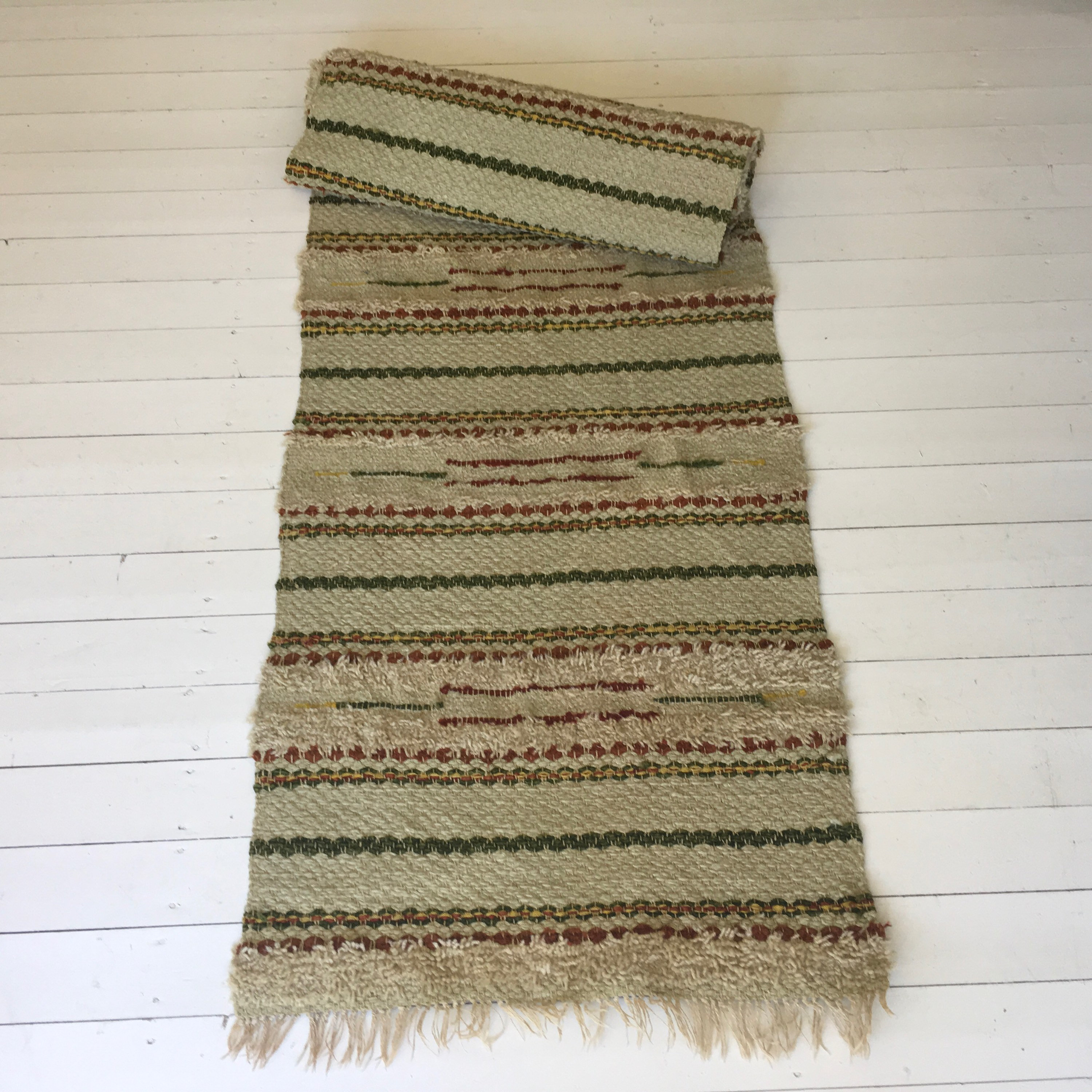 Vintage Swedish Rag Rug In Green,Yellow And Brown Colored