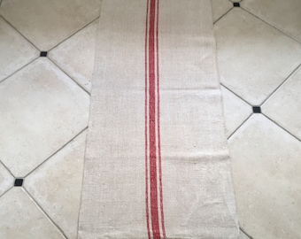 NS1857 Natural Limestone Vintage Linen Grainsack Fabric Striped Sewing Projects Upholstery Bath Mat or Laundry Bag