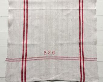NTT1910 Red Stripe Tea Towel Linen for with 'SZG' Monogram Vintage Fabric Handmade Linen