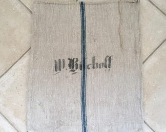 NS1623 Blue Stripe Twill German Printed Vintage Linen Floursack