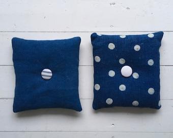 Polka Dot Indigo Linen Lavender Pillows