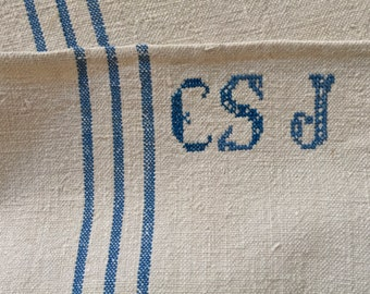 Blue Stripes Monogrammed 'CS J 'Linen Vintage Grain Sack Sand Stone Upholstery Bench Seat Pillow Cushions Bathroom Mat NS2007