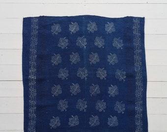DTR 1901 Vintage Indigo Dyed  Linen Table Centre Piece with Grapeleaf Design and Leaf Print Edging Vintage Fabric Handmade Linen