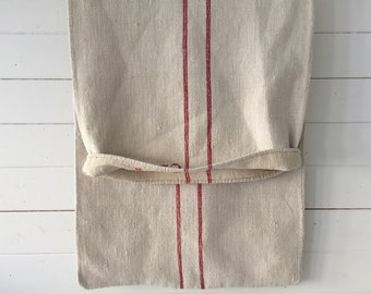 Red Stripes Monogrammed CS J Linen Vintage Grain Sack Stone Upholstery Bench Seat Pillow Cushions Bathroom Mat Washed and ready to Go NS2141
