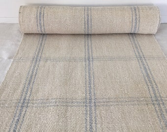 Light Blue Squared Lines in Linen for Tables Upholstery Projects Vintage Fabric Handmade Linen - By The Metre