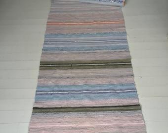 RR1710 Vintage Swedish Rag Rug in Pastel Blues,Greens, Greys and Pinks Stripey
