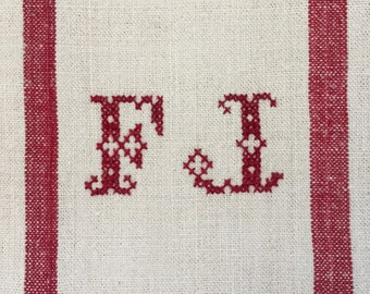 Red Monogrammed 'FJ' Natural Limestone Vintage Linen Grainsack Fabric Striped Sewing Projects Upholstery Bath Mat or Laundry Bag